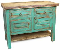 Painted Wood Rustic Bathroom Vanity - 2 Doors & Lower Shelf