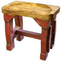 Painted Wood Tractor Seat Bench - Single