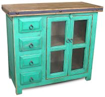 Painted Wood Turquoise Buffet with Glass Panel Doors and Small Drawers