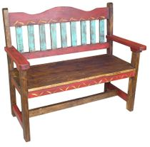 Red Carved Painted Wood Bench