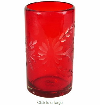 Red Etched Floral Mexican Highball Glass - Set of 4