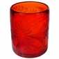 Red Etched Floral Mexican Rocks Glass - Set of 4