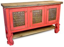Red Painted Wood Buffet with Ox Yoke Legs and Tin Panelled Doors