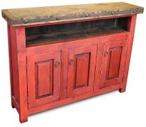 Red Painted Wood Skinny TV Entertainment Console