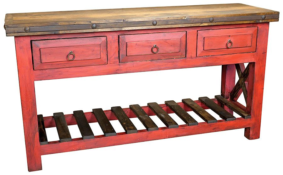 Cool Red Painted Wood Sofa Table With Slat Shelf And Three Drawers Home Interior And Landscaping Dextoversignezvosmurscom