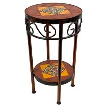 "Round Mexican Iron Side Table with Talavera Tiles - 12"" Dia. x 21"" H"