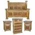Rustic 4-Piece King Bedroom Set with Iron Clavos and Accents