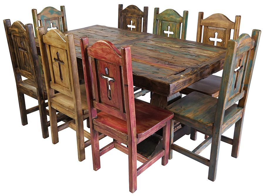 Rustic Painted And Natural Wood Dining, Rustic Dining Room Furniture