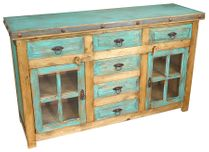 Rustic Painted Wood Buffet with Glass Doors - Green