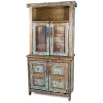 Rustic Painted Wood Trastero Hutch