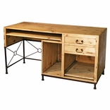 Rustic Pine Computer Desk with Wrought Iron Accent