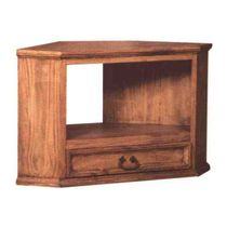 Rustic Pine Corner TV Stand with Large Component Shelf