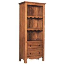 Rustic Pine Open Cupboard with 2 Drawers - Mexican Furniture
