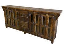 Rustic Reclaimed Wood Buffet with 8 Doors and 4 Drawers