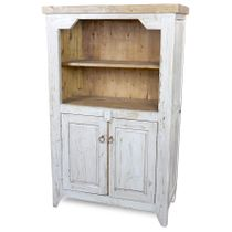 Rustic White-Washed Painted Wood Hutch with Shelves