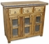 Rustic Wood Buffet with Glass Panel Doors and Iron Accents