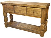Rustic Wood Square Leg Sofa Table with Large Drawers