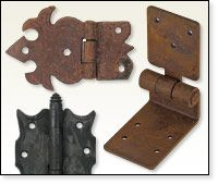 Rustic Wrought  Iron Hinges, Straps, Corner Brackets & Latches