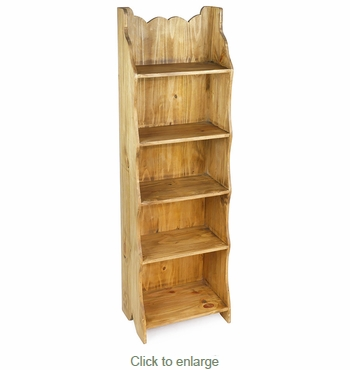 Scalloped Edge Mexican Pine Bookshelf - 5 Shelves - 17