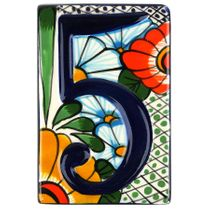 Set of 5 Talavera House Address Tiles - Raised 3-D Multi-Color