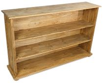 Short and Wide Rustic Pine Bookcase with 3 Shelves