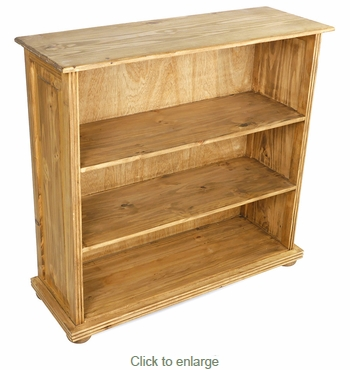 Short Rustic Pine Bookcase - 3 Shelves