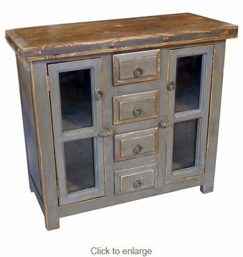 Small Gray Painted Wood Buffet with Glass Panel Doors