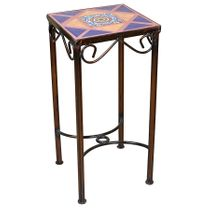 "Small Mexican Iron Side Table with Talavera Tiles - 10"" x 10"""