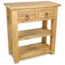 Small Mexican Rustic Pine Sofa Table With 2 Drawers and Double Lower Shelves