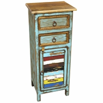 Small Painted Wood Cabinet with Drawers & Multi-Color Slat Door