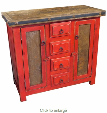 Small Red Painted Wood Buffet with Hammered Metal Panel Doors