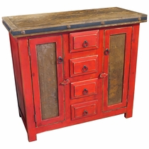 Small Red Painted Wood Buffet with Copper Panel Doors