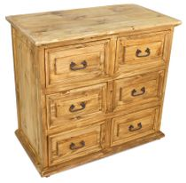 Small Rustic Pine Dresser - 6 Drawer