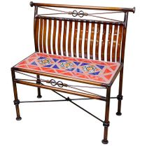 Small Wrought Iron Copper Finish Bench with Talavera Tiles
