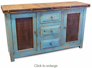 Southwest Blue Painted Wood Buffet with Tin Panels