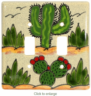 Talavera Double Switchplate - Cactus Design