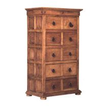Tall Mexican Pine 10 Drawer Dresser with Clavos
