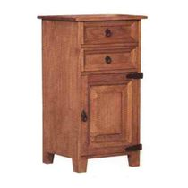 Tall Mexican Pine Nightstand with 2 Drawers and Cabinet