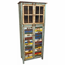 Tall Painted Wood Double Cabinet with Glass Window and Colorful Slat Doors