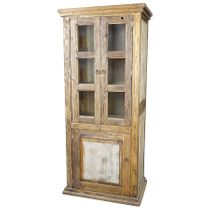Tall Rustic Wood Vitrina Cabinet with Glass Doors