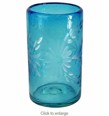 Turquoise Etched Floral Mexican Highball Glass - Set of 4