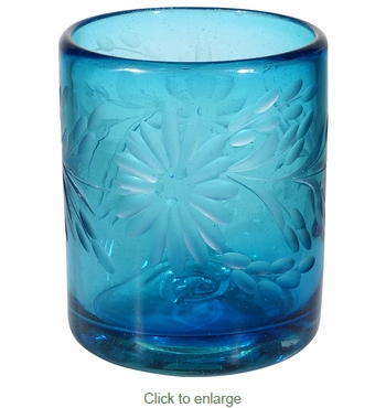 Turquoise Etched Floral Mexican Rocks Glass - Set of 4