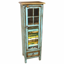 Turquoise Painted Wood Cabinet with Glass Window & Multi-Color Slat