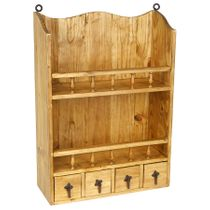 Wall Mount Rustic Pine Open Shelf with 4 Small Drawers -  Kitchen or Bath