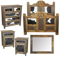 Western Lone Star Cowhide 5-Piece Bedroom Set