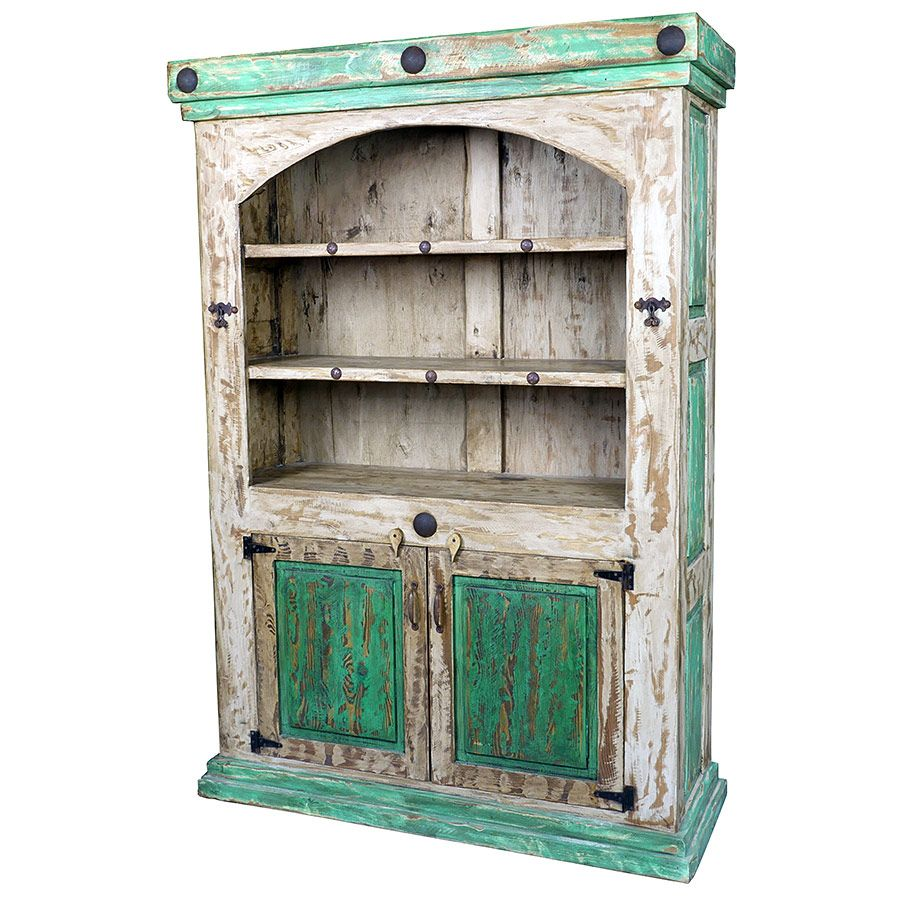 White Green Distressed Paint Wood Bookcase Cabinet