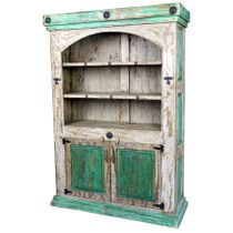 White & Green Distressed Paint Wood Bookcase & Cabinet