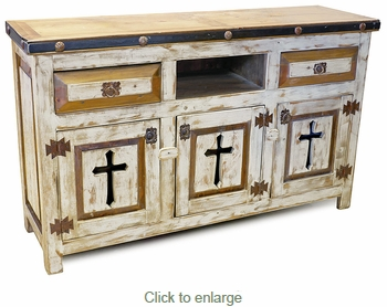 White Painted Wood Buffet with Cross Cutout Doors
