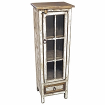 White Washed Rustic Wood Narrow Cabinet with Glass Doors
