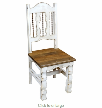 White Washed Wood Dining Chair with Ox-Yoke Legs